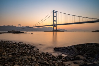 Sunrise at Tsing Ma Bridge